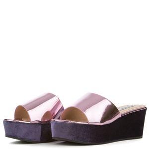 Cape Robbin Velvet Platform Sandal Pink Purple